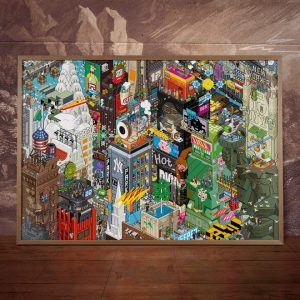 affiche pixel art ville de new york